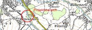 Geografische Karte Rückhaltebecken Rettenbrunn