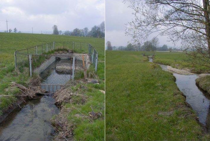 Renaturierung Vockingerbach - Vorher: Sandfang und Überleitung