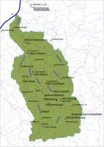 Karte Wasserverband Antiesen - Übersicht Projekte